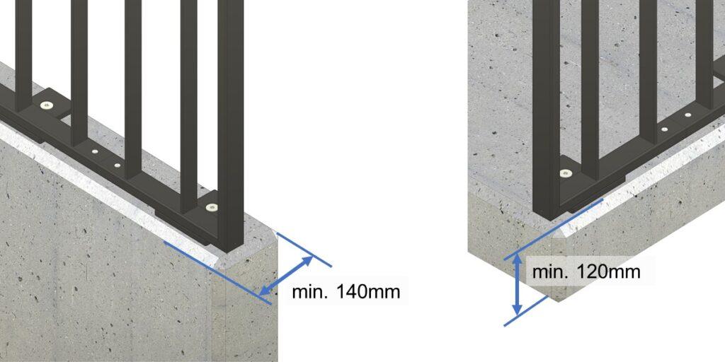 Staketengeländer auf Mauer oder Platte montiert