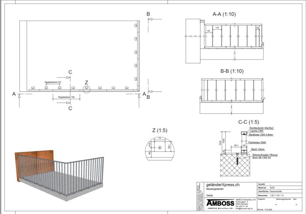 Technische Zeichnung zu unserem Xpress-Staketengeländer